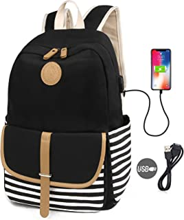 SCIONE School Backpacks for Women Teen Girls with USB Charging Port Lightweight Canvas Stripe Backpack Cute Teen Bookpack