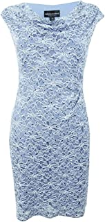 Connected Apparel Womens Petites Lace Sequined Cocktail Dress