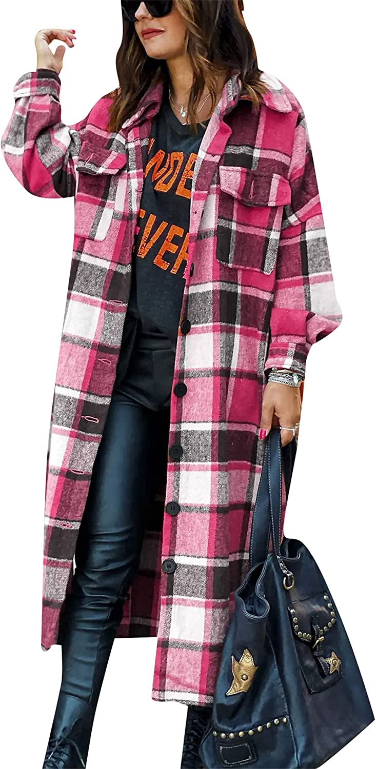 YMING Womens Button Down Plaid Jackets Oversized Boyfriend Shirt Lapel Wool Blend Shacket with Pockets