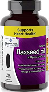 Member's Mark 1300 mg Flaxseed Oil Dietary Supplement (325 ct.) (Pack of 6)