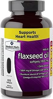 Member's Mark 1300mg Flaxseed Oil Softgels Cold Pressed Omega-3 Omega-6 (1 bottle (325 softgels))