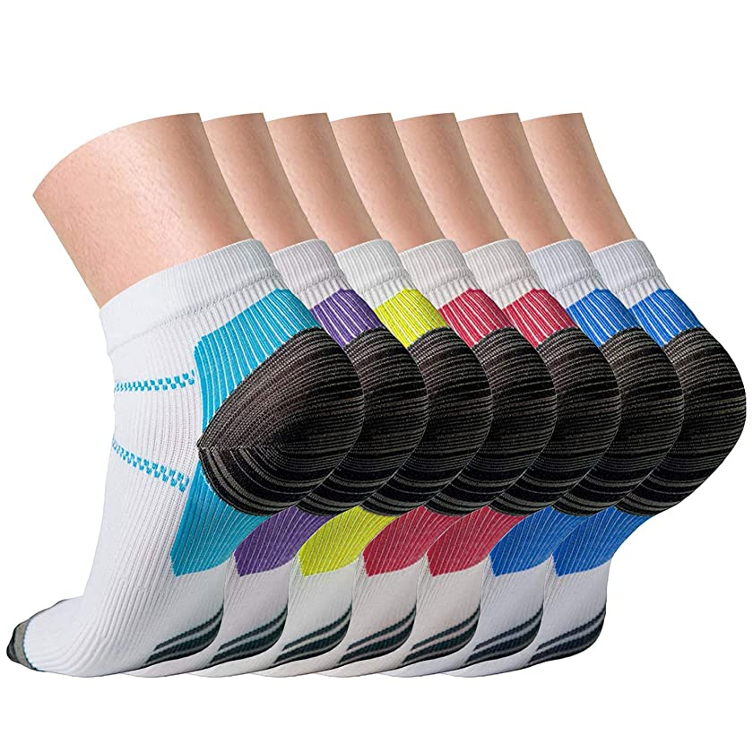 Compression Socks (4/7 Pairs) for Women and Men Sport Plantar Fasciitis Arch Support Low Cut Running Gym Compression