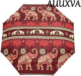 XMCL India Tribal Animal Elephant Pattern Automatic Folding Umbrella Anti-UV Protective Sunblock Windproof & Waterproof Lightweight for Girls Boys Women