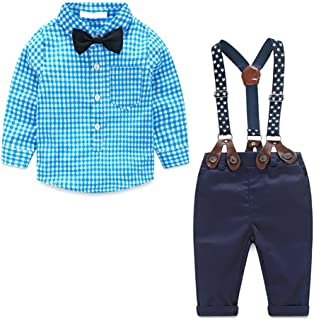 Baby Boys Gentleman Outfits Long Sleeve, Toddler Plaid Shirt + Suspender Pants with Bow Tie 4Pcs Set