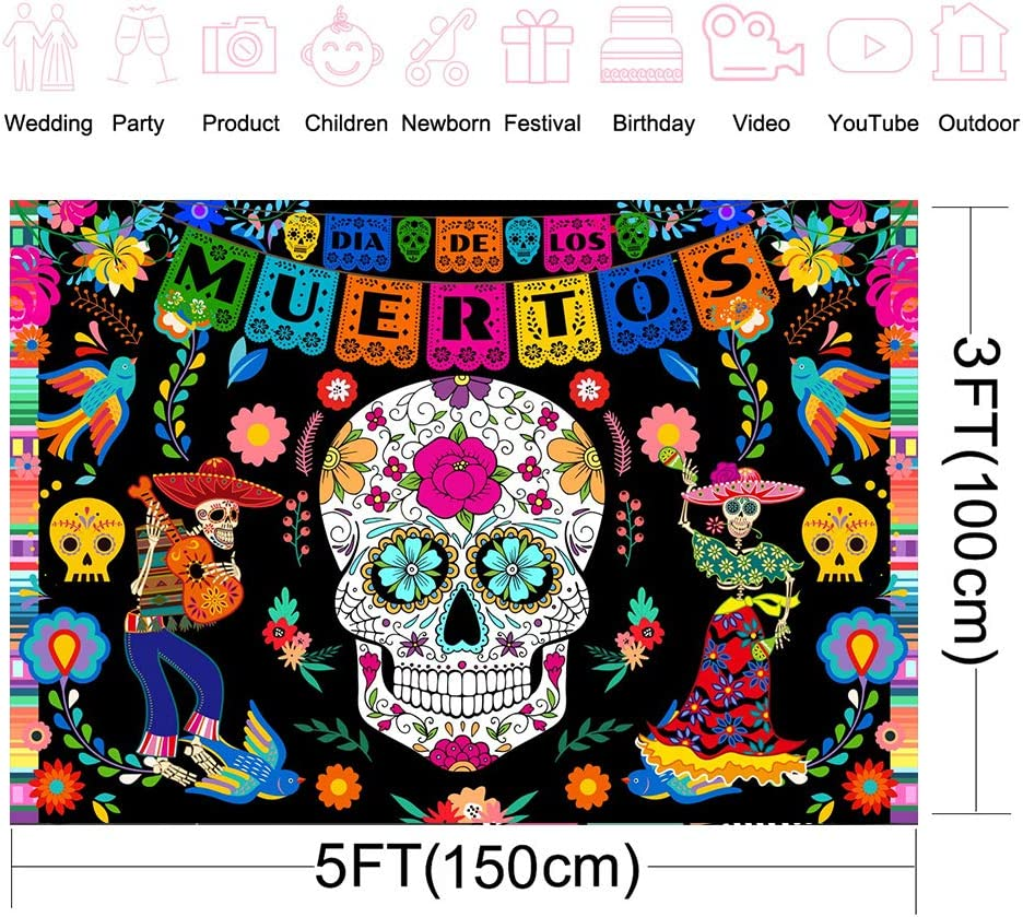Avezano Day of The Dead Backdrop 7x5ft Vinyl Dia De Los Muertos Photography Background Mexican Sugar Skull Dress-up Party Cake Table Decoration Banner Photo Booth Props