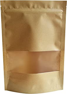 51groups Kraft Paper Bag with Transparent Window(50-Pack) Dry Food Snack Storage | Home, DIY, Commercial Use | Store Coffee, Tea Leaves, Nut, Candy | Food-Grade Safe (5.5