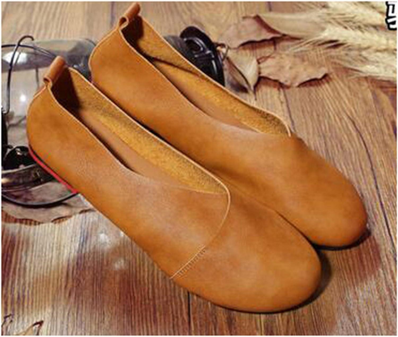 Dahanyi Stylish Vintage Art Handmade shoes Genuine Leather Flats Women shoes Shallow Mouth Casual Fashion Women shoes