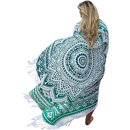 SENYANG Grün Mandala Handwerk Quaste Runde Strandtuch Strand Yoga Matten Schal Schal Tapestry Chiffon Tischdecke Picknickdecke Schal