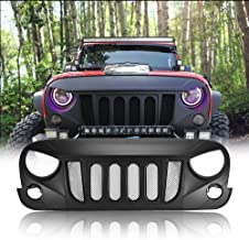 AUXMART Front Grill Beast Grille with Mesh Insert for Jeep Wrangler JK 2DR/4DR 2007-2017