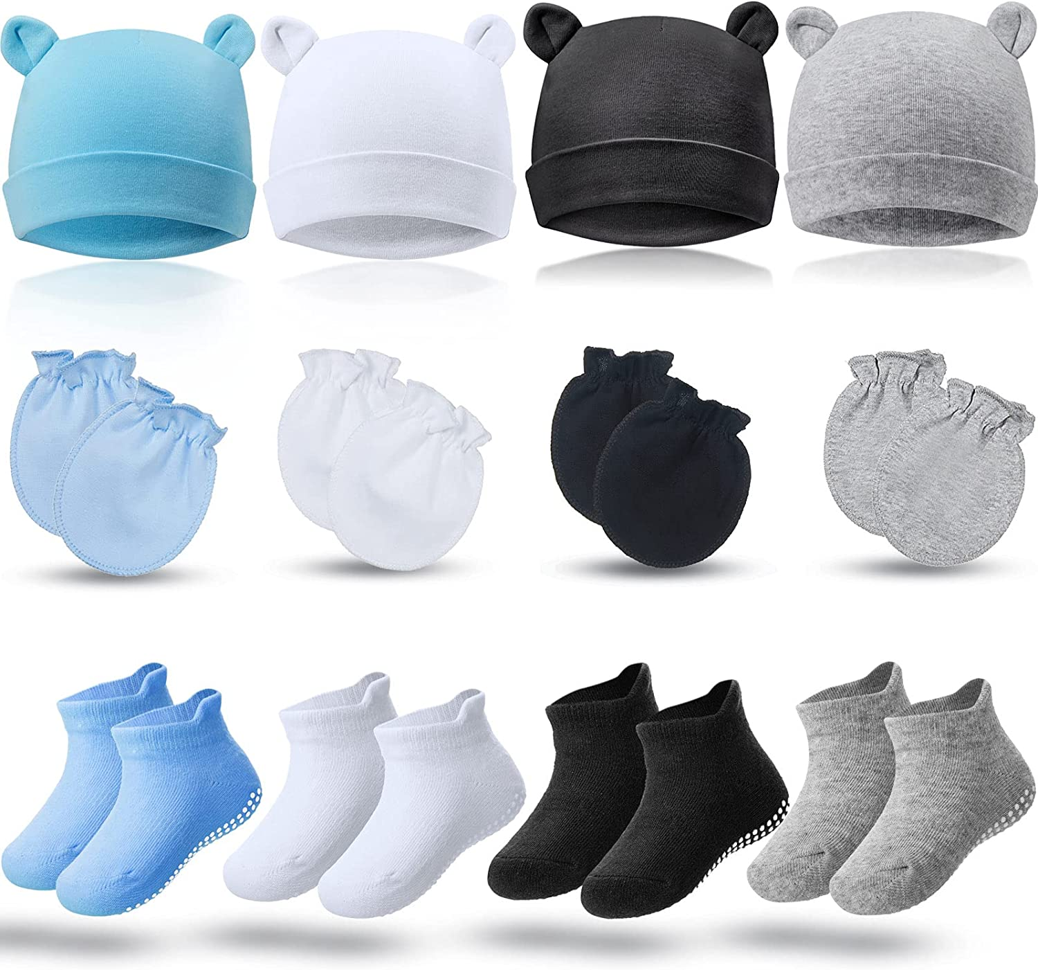 4 Sets Newborn Baby Hat and Toddler Beanie Slip Cap Non 2021 new Mittens Max 63% OFF