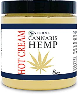 Hemp Hot Cream-Hemp Oil-Organic Hot Cream-Anti Cellulite-Muscle Cream-Pain Support (8 Ounce Jar)