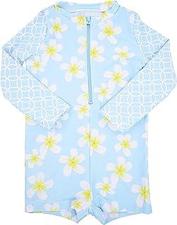 ملابس السباحة للبنات الصغار بأكمام طويلة قطعة واحدة للحماية من أشعة الشمس مع سروال قصير بعامل حماية من أشعة الشمس 40+