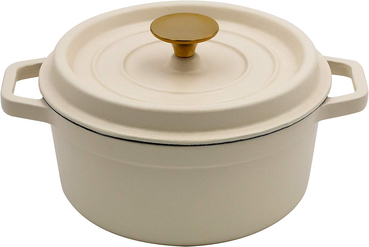 AIDEA Enameled Cast Iron Matte Dutch Oven Pot With Lid 3 Quart All Round For Preparing Low And Slow Cooking Meals White