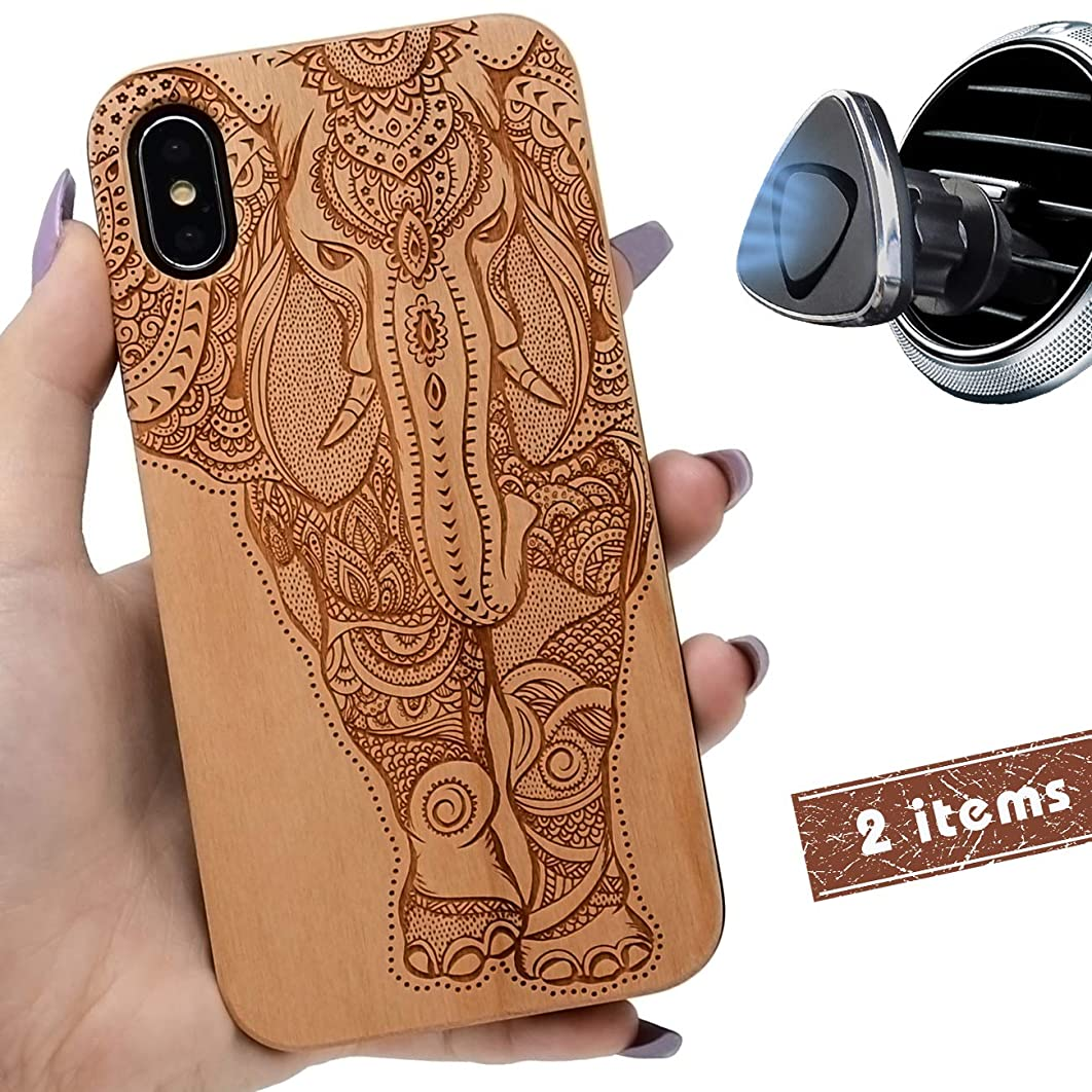 iProductsUS Wood Phone Case Compatible with iPhone XR,Magnetic Mount and Screen Protector-Engrave Unique Elephant,Compatible Wireless Charger,Built-in Metal Plate,TPU Rubber Protective Cover (6.1
