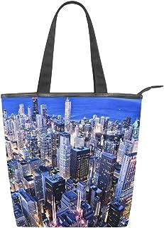 alaza Tote Canvas Schultertasche Chicago Nachtstadtbild Handtasche