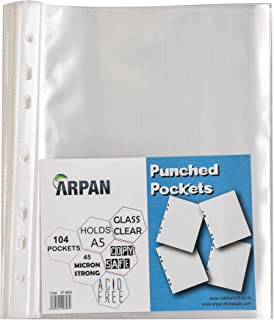 Punched Pocket A5 Strong 45 Micron Transparent Poly Wallets Glass Clear 104 Sheet Protector