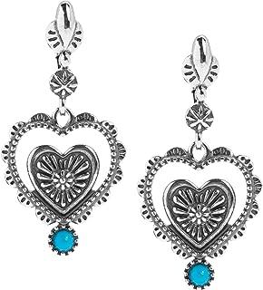 Sterling Silver Sleeping Beauty Turquoise Gemstone Folk Art Heart Dangle Earrings