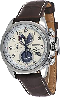 Men's Prospex World Time Solar with Brown Leather Strap and Cream Dial
