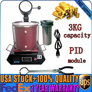 3KG Melting Furnace Automatic Melt Gold & Silver Copper PID Control AC110V 1600WElectric Melting Furnace Copper Smelter Graphite Crucible 1150℃ Electric Casting Refining Precious Melting Furnace Digit