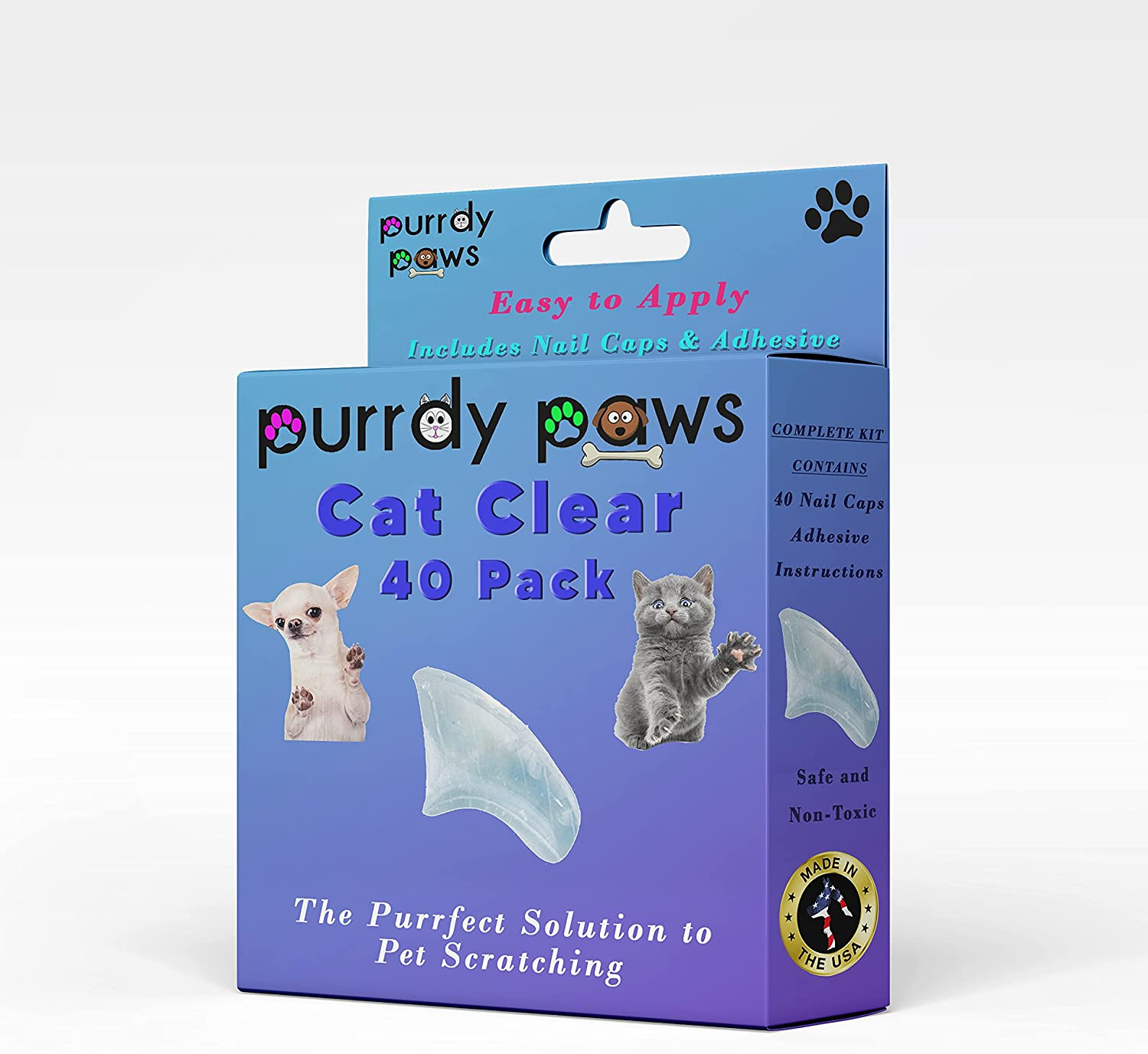 Purrdy Paws 40-Pack Soft Nail Cat Claws for Spring new work Caps Clear Free Shipping Cheap Bargain Gift