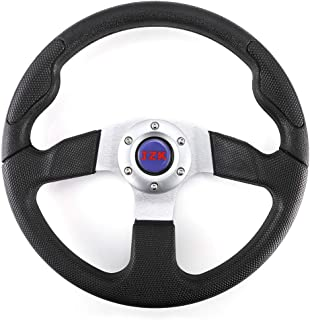 JZK New Classic Universal Steering Wheel 350mm 6 Bolts PU Material Black Color Grip and Brushed Stainless Spokes