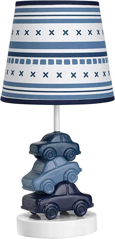 Lambs Ivy Metropolis Blue Cars Automobiles Nursery Lamp With Shade Bulb