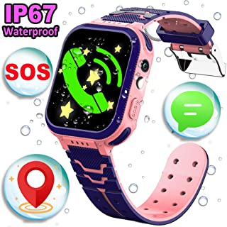 iFunplus Kids Smart Watch Phone GPS Tracker IP68 Waterproof for Boys Girls with Touch Screen SOS 2 Way Call Camera Alarm Clock Math Game Gizmo Wrist Watch iOS Android Electronic Learning Toys (4pink)