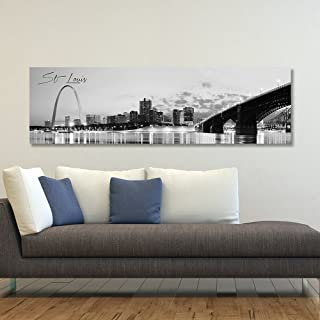 """WallsThatSpeak Panoramic St. Louis Cityscape Picture, Black and White Stretched Canvas Art Prints, Wall Decoration for Bedroom or Office, Framed and Ready to Hang, 14"""" x 48"""""""