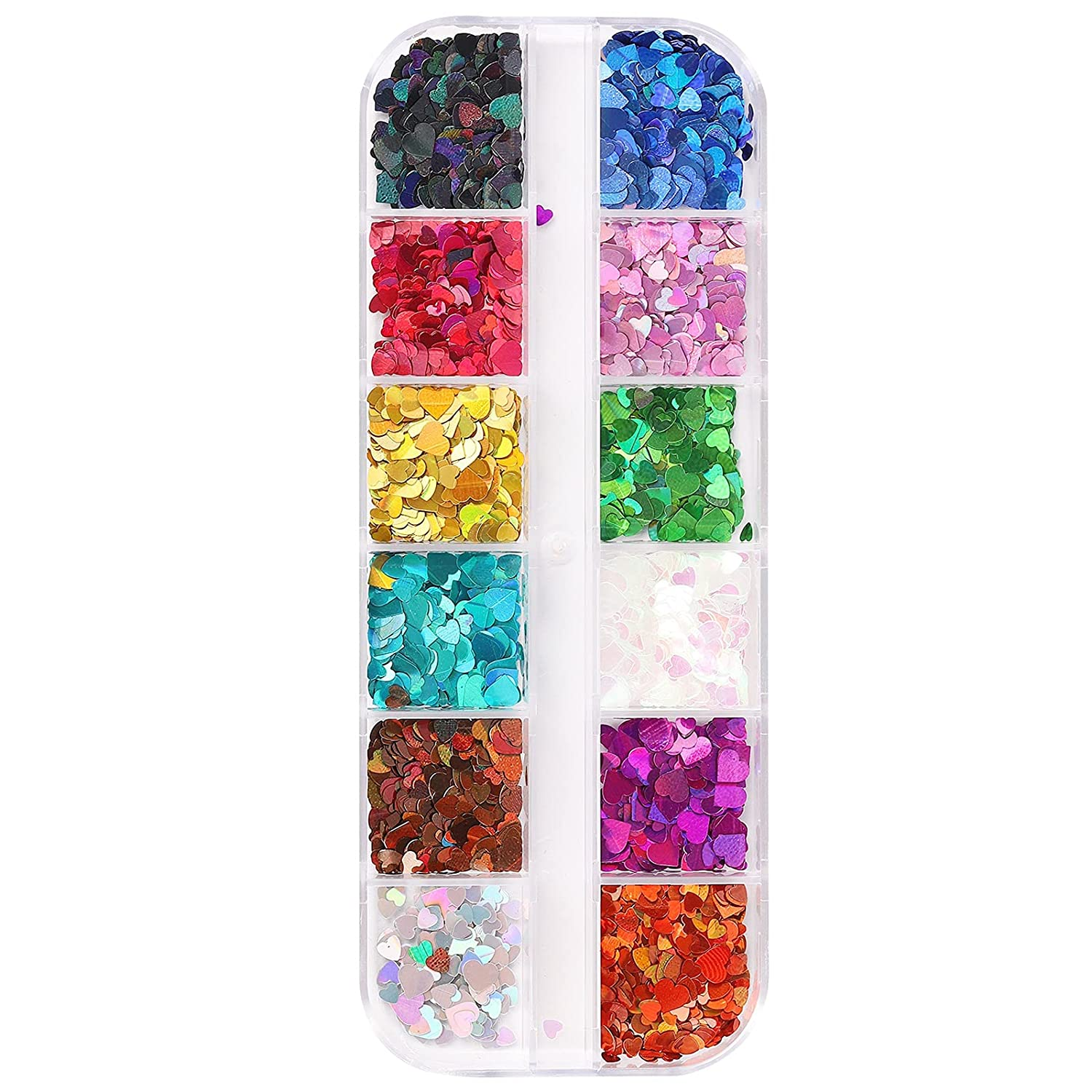 Pretty Comy Holographic Nail Glitter 3D Heart Set Ranking TOP3 Sequins Shape Same day shipping