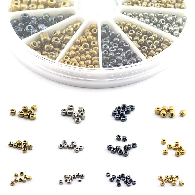 Lind Kitchen 2800pcs Mini Glass Beads DIY Handmade Jewellery Beading Fittings Loose Seed Spacer Beads 2mm 3mm 4mm Metal Color (Silver, Gold, Black, Red Copper) ft463417309