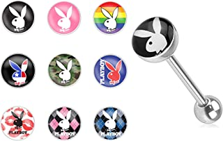 14g Surgical Steel Playboy Graphic Tongue Piercing Barbell (Choose Style)