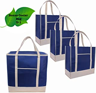 Reusable Grocery Bags Tote heavy duty plus cooler| Set of 3+1 | Insulated| Produce |Holder| Shopping Bags|Thermal|Food Delivery|Long Reinforced Handles | Pockets |Pouch|Foldable|Eco|Green (Navy Blue)