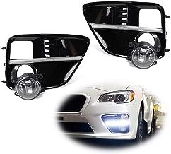 iJDMTOY LED Daytime Running Light & Halogen Fog Lamp Kit For 2015-2017 Subaru WRX/STi, Includes LED DRL Fog Bezels, Halogen Foglights & Switch Wiring Harness