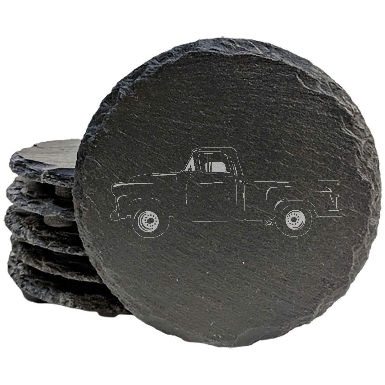 1950 GMC 100 Pickup Coasters - 8 of Slate Opening large release sale Department store set Round