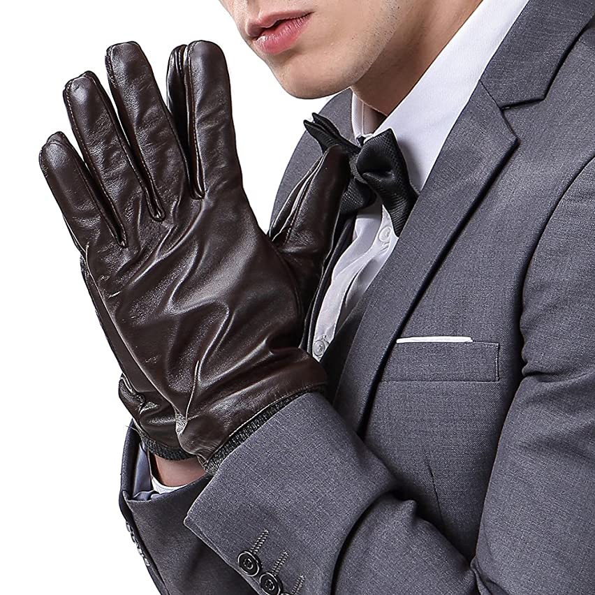 Mens Italian Nappa Winter Touchscreen Leather Gloves, Texting Driving Gloves with soft nap cuffs for Men