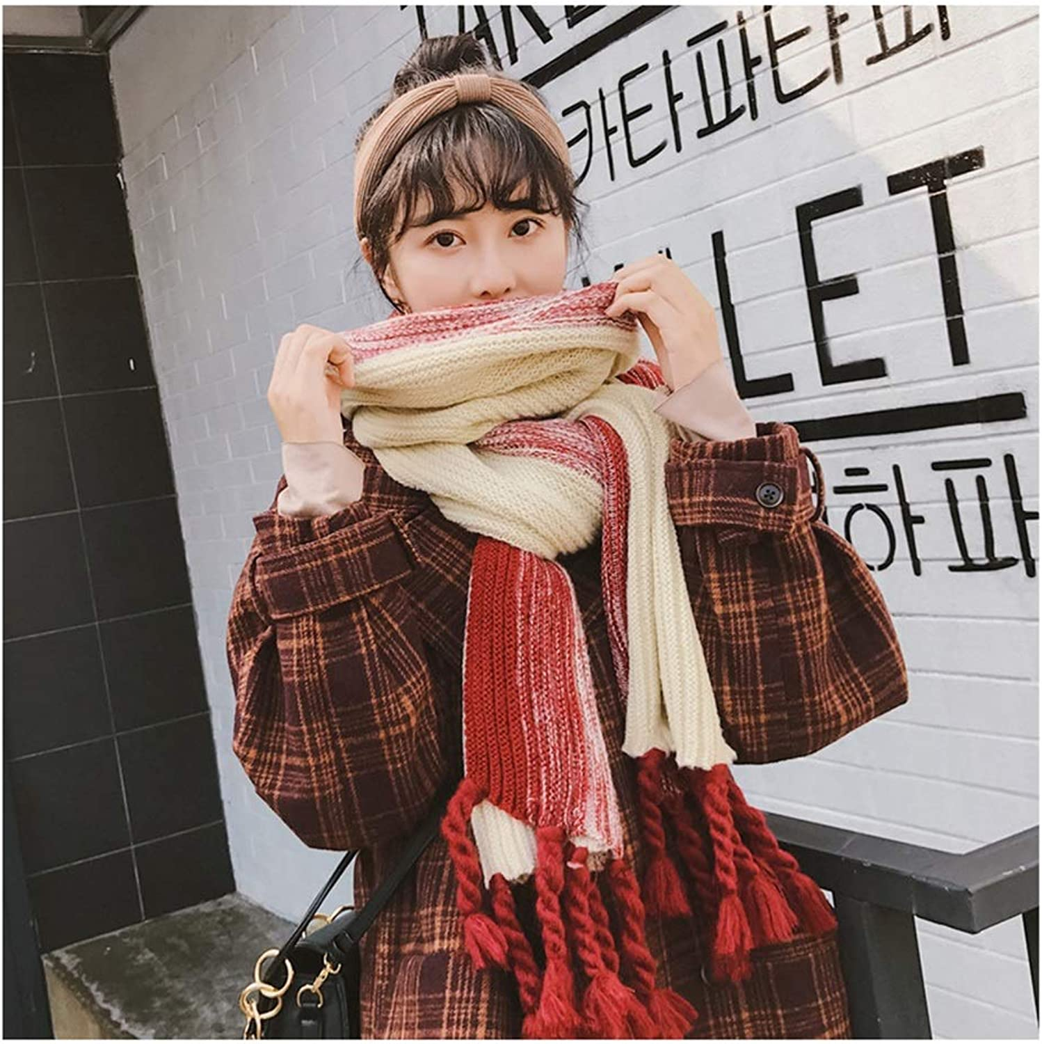 Scarf Winter New Wool Scarf Ladies Long Thick Scarf Warm Student Cute Big Tassel Knit Scarf (color   B)