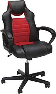 Essentials Gaming Chair - Racing Style Ergonomic Mesh and Leather Computer Chair, Red
