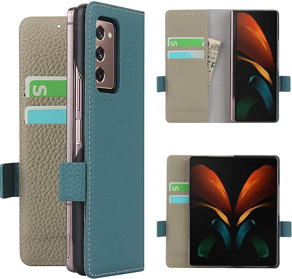 Copmob cover samsung galaxy z fold2 5g flip portafoglio porta carte di credito in pelle A - Cielo blu