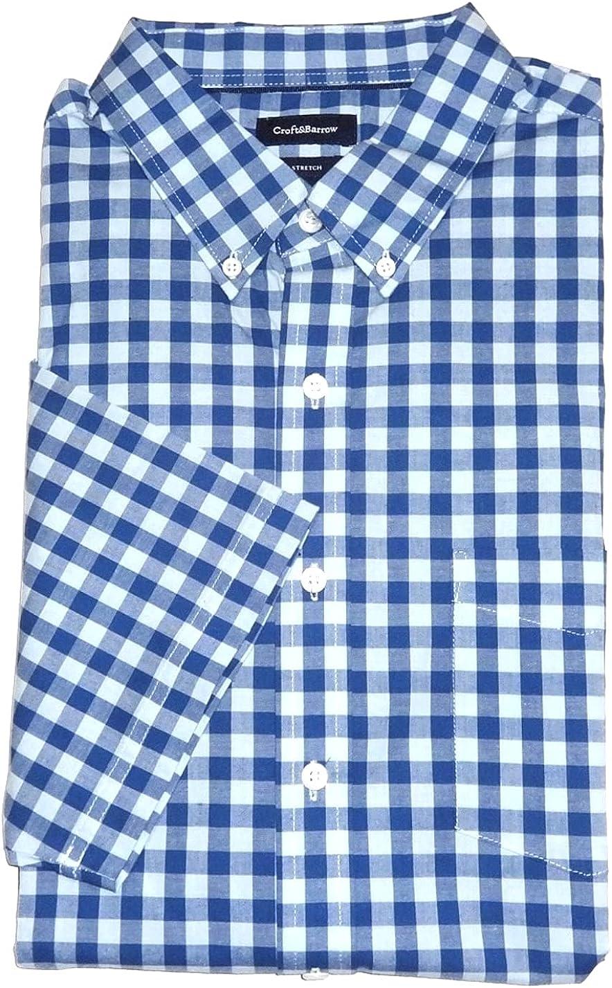 Croft & Barrow Mens Big Tall Classic Fit Short Sleeve Stretch Shirt Blue Check