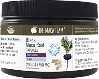 The Maca Team Premium Raw Black Maca Root Capsules, Certified Organic, Vegan, GMO- and Gluten-Free, 750 mg Size, 200 Count