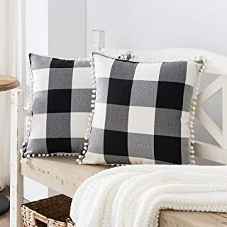 Best Nestinco Set of 2 Farmhouse Buffalo Check Cotton Linen Pillow Covers with Pom Pom Black and White Square Throw Pillow Covers 18 x 18 inches for Sofa Couch Decor Review