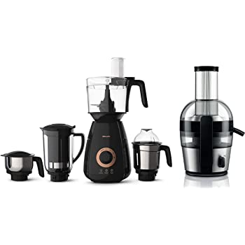 Philips Viva Collection HR186320 2 Litre Juicer (BlackSilver) with HL770700 750 Watt Mixer Grinder with 4 Jars (Black) Combo