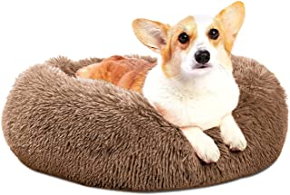 Calming Dog Bed & Cat Bed, LOCADO Anti-Anxiety Donut Dog Cuddler Bed, Warming Cozy Soft Dog Round Bed, Fluffy Faux Fur Plu...