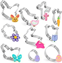 10PCS Easter Cookie Cutter Set - Bunny,Rabbit Face,Egg,Chick,Carrot,Flower,Butterfly,Holy Cross Party Supplies Decorations