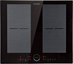 Klarstein Delicatessa Slim Domino – placa de inducción, zona flexible, autárquico, encastrable, reconocimiento de ollas, programable, táctil, vitrocerámica, 7000 W de potencia, 4 zonas, negro