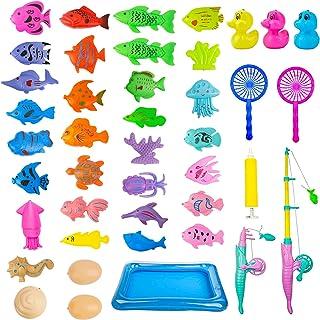 Juego Pescar Peces 42 Pcs,Juguete de Baño,Juego de Pescar para Ninos Magnetico,Juguete de Pesca Magnético,con Caña Flotand...