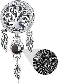 Abalorio de plata de ley 925 para pulseras Pandora, collar, 100 idiomas de proyección atrapasueños