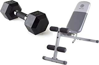 A.T. Products Corp. Cap Barbell Polyurethane Infused Dumbbell, 20 lbs. Bundle with Gold's Gym XR 5.9 Adjustable Slant Workout Weight Bench