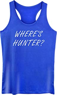 GROWYI Funny Workout Tank Tops Racerback for Women with Saying Where's Hunter Political Fitness Gym Sleeveless Shirt Blue