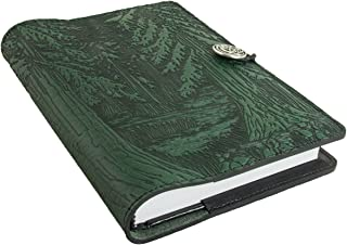 Genuine Leather Refillable Journal Cover with a Hardbound Blank Insert, 6x9 Inches, Forest, Green with a Pewter Button, Made in the USA by Oberon Design